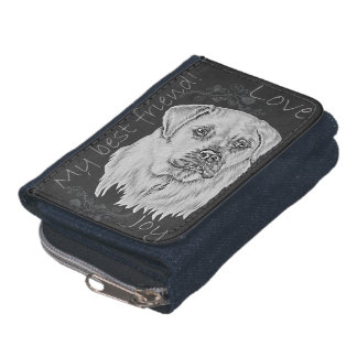 Cute Chalk Drawing of White Labrador Dog Wallets