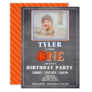 Cute Chalkboard Basketball Photo 1st Birthday Invitation