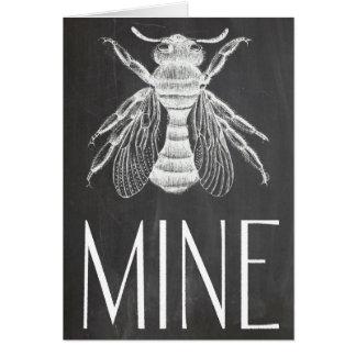 cute chalkboard drawing bee mine valentine romance card