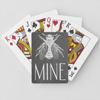 cute chalkboard drawing bee mine valentine romance playing cards
