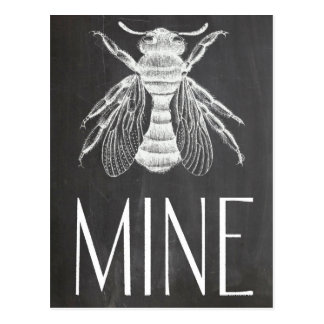 cute chalkboard drawing bee mine valentine romance postcard