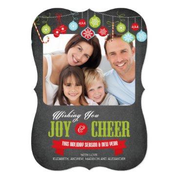 Christmas Themed Cute Chalkboard Family Christmas Photo Card