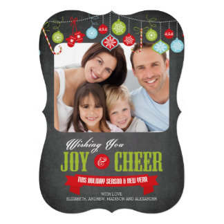 Cute Chalkboard Family Christmas Photo Card Personalized Invites