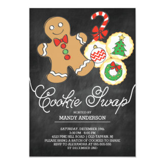 Cute Chalkboard Holiday Cookie Swap 5x7 Paper Invitation Card
