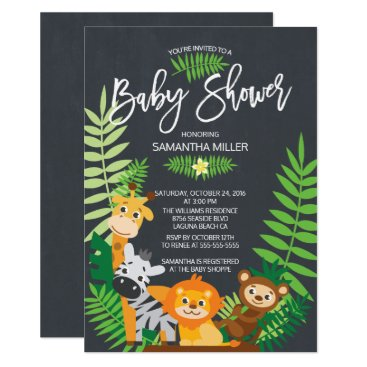Toddler & Baby themed Cute Chalkboard Jungle Safari Baby Shower Card