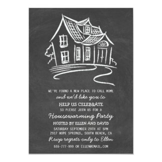 Cute Chalkboard New Home Housewarming Invitations