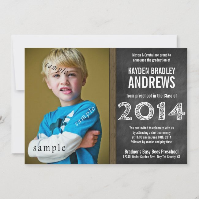 Cute Chalkboard Preschool 2014 Graduation Photo Invitation