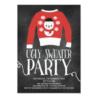 Cute Chalkboard Ugly Sweater Holiday Party Card