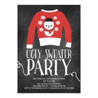 Cute Chalkboard Ugly Sweater Holiday Party Invitation