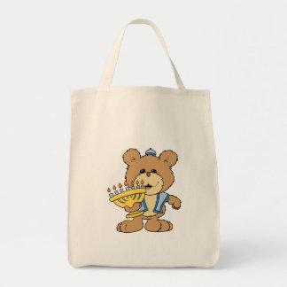 cute Chanukah  hanukkah Menorah teddy bear Grocery Tote Bag
