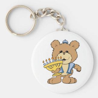 cute Chanukah  hanukkah Menorah teddy bear Basic Round Button Keychain