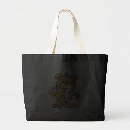 cute Chanukah  hanukkah Menorah teddy bear Large Tote Bag