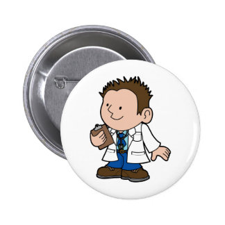 cute character male doctor pinback button