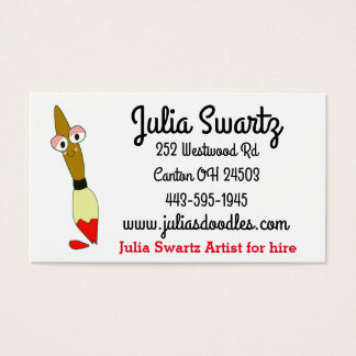 cute character paintbrush business card