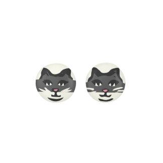 CUTE CHARCOAL GRAY & WHITE CAT EARRINGS