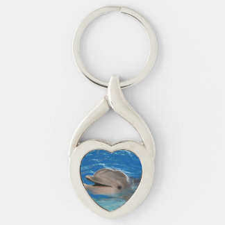 Cute Chattering Dolphin Silver-Colored Heart-Shaped Metal Keychain