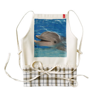 Cute Chattering Dolphin Zazzle HEART Apron