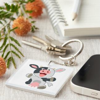 Cute Cheerful Cartoon Cow Acrylic Keychain