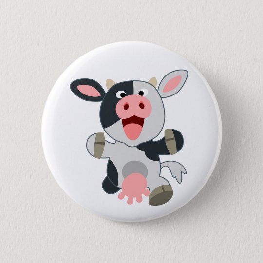 Cute Cheerful Cartoon Cow Button
