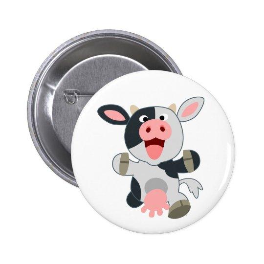 Cute Cheerful Cartoon Cow Button