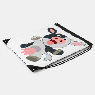 Cute Cheerful Cartoon Cow Drawstring Backpack