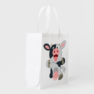 Cute Cheerful Cartoon Cow Reusable Bag