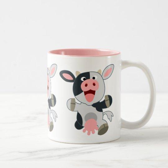 Cute Cheerful Cartoon Cow Two-Tone Coffee Mug