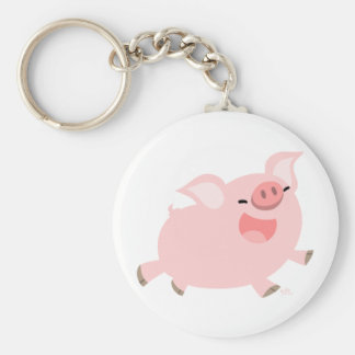 Cute Cheerful Cartoon Pig Keychain
