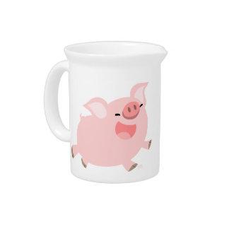 Cute Cheerful Cartoon Pig Pitcher