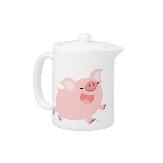 Cute Cheerful Cartoon Pig Teapot