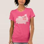 Cute Cheerful Cartoon Pig Women T-shirt