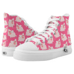 Cute Cheerful Cartoon Pigs Pattern High-Top Sneakers