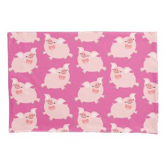 Cute Cheerful Cartoon Pigs Pattern Pillowcase