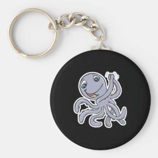 cute cheering octopus basic round button keychain