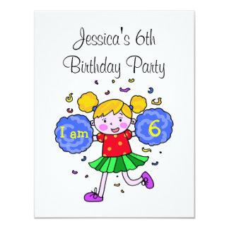 Cute cheerleader 6th birthday girl party card