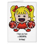 Cute Cheerleader Birthday Card for Girls