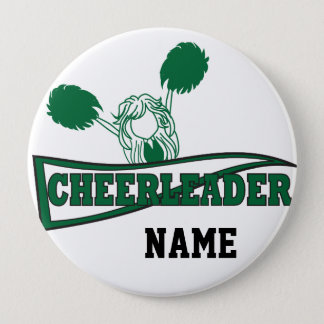 Cute Cheerleader | DIY Name | Dark Green Pinback Button