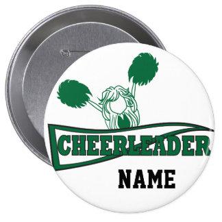 Cute Cheerleader   DIY Name   Dark Green Pinback Button