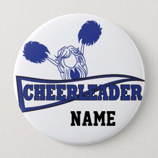Cute Cheerleader Girl | DIY Name | Dark Blue Pinback Button