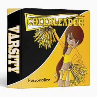 Cute Cheerleader Girl in Golden Yellow 3 Ring Binder