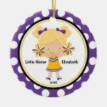 Cute Cheerleader Little Sister Christmas Ornament