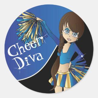 Cute Cheerleader Pom Pom Girls | Blue Classic Round Sticker