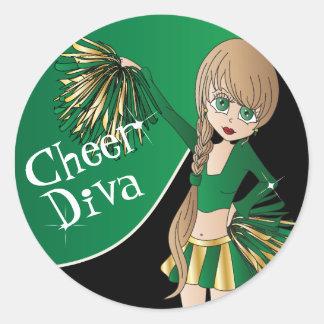 Cute Cheerleader Pom Pom Girls | Green Classic Round Sticker