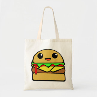 Cute Cheese Burger Character Tote Bag