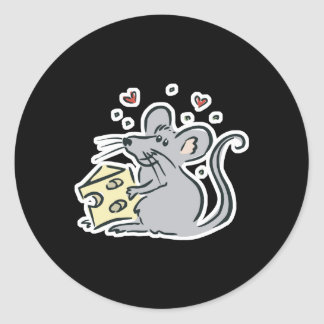 cute cheese loving mouse classic round sticker