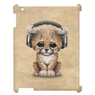 Cute Cheetah Cub Dj Wearing Headphones iPad Cases