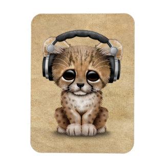 Cute Cheetah Cub Dj Wearing Headphones Magnet