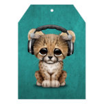 Cute Cheetah Cub Dj Wearing Headphones on Blue 5x7 Paper Invitation Card