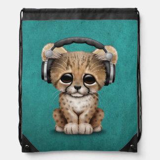 Cute Cheetah Cub Dj Wearing Headphones on Blue Drawstring Bag