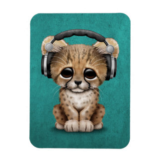 Cute Cheetah Cub Dj Wearing Headphones on Blue Magnet